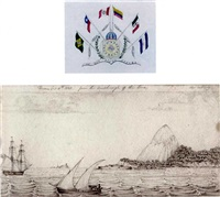 sketches from nature in portugal and south america, 1824-1826 (sketchbook w/24 works + frontispiece, watercolor) by george rodney mundy