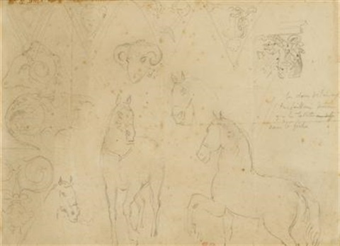 studies of horses, architectural elements and ram heads by eugène delacroix