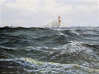 stormy sea with lighthouse and needles in distance by stephen j. renard