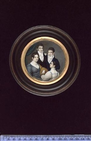 a family group: the father and son wearing dark coloured coats and white stocks; the mother wearing grey dress with white and brown shawl over her arm; the daughter wearing white dress with high ruff by karl josef raabe