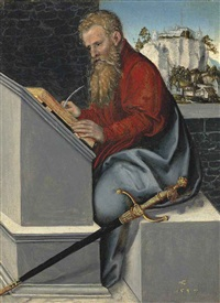 saint paul in his study by lucas cranach the younger