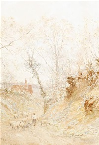 road to st. martha's chapel, guildford by sir ernest albert waterlow