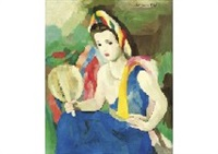 jeune fille a l'eventail by marie laurencin