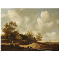 a dune landscape with a farmer with his horse-drawn cart, other figures conversing on a path near a barn by pieter symonsz potter