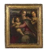 portrait of madonna and christ child with st. john by francesco del brina
