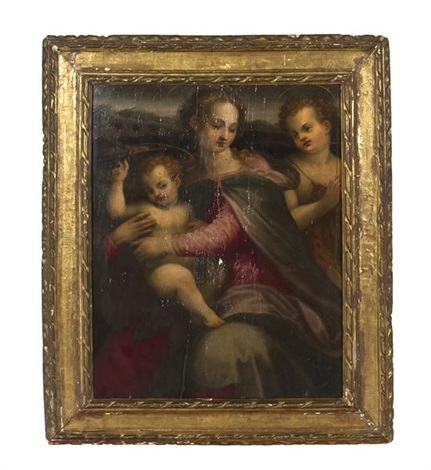 portrait of madonna and christ child with st john by francesco del brina