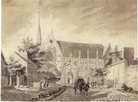 view of the church at passy, near paris by reinier vinkeles