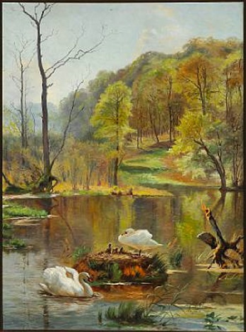 forest lake with swans and cygnets in the nest by carl frederik peder aagaard