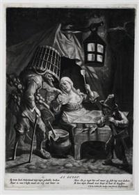 der geschmack (die pfannkuchbäckerin), pl.3 (after dusart, from die fünf sinne) by jacob gole