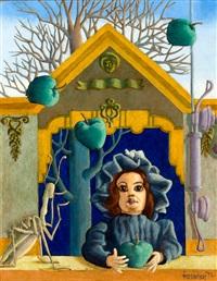 meisje met appels en sprinkhaan, in het gras (2 works) by frans de haas