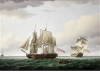 hailing the frigate: a frigate heaving-to and slowing to allow an approaching cutter to transfer her passenger or deliver dispatches, with a first rate heeling in the breeze beyond as she bears away down the channel by thomas whitcombe