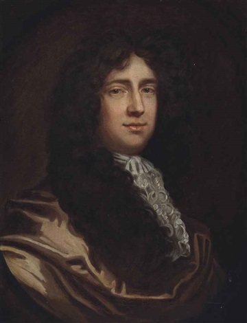 portrait of sir john huband 1st baronet 1649 1710 bust length in a brown coat and white stock by sir peter lely