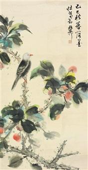 花鸟 裱片 纸本 by xie zhiliu