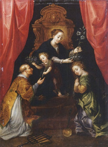 the madonna and child enthroned adored by saint lawrence and saint martha by martin pepin