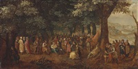 a wooded landscape with the adoration of the magi, the preaching of saint john the baptist and the baptistm of christ beyond by david vinckboons