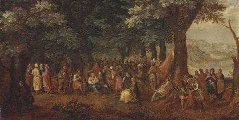 a wooded landscape with the adoration of the magi the preaching of saint john the baptist and the baptistm of christ beyond by david vinckboons