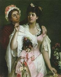 jeune femme et sa servante à l'heure de la toilette by bernard pégot