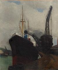 cargo charbonnier sur les quais de dieppe by fernand andrey-prevost