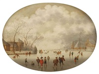 a winterlandscape with figures skating and sleighing on a frozen river near a village by anthonie van stralen