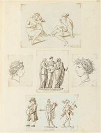 un album comprenant 168 études - figures, caricatures et études d'après l'antique (album w/ 168 works) by michel nitot