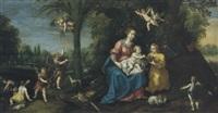 maria mit kind in einer landschaft mit engeln und tieren by marten pepyn