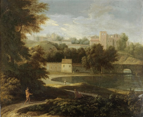 figures walking by a lake with a fortified village beyond by gaspard dughet