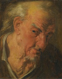 a head study of an old man looking right; a head study of a bearded old man looking left (pair) by gaspare traversi
