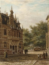 a town view with elegant figures on a street by johannes matthijs hoogbruin