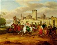 scène de combat entre grecs et turcs lors de la guerre d'indépendance by charles bellier