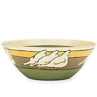 exceptional bowl decorated in cuerda seca with geese by ida goldstein