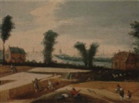 landscape with farmers tending to their fields by joos de momper the elder
