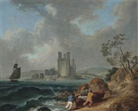 fishermen pulling in their boat, carnarvon castle beyond by julius caesar ibbetson