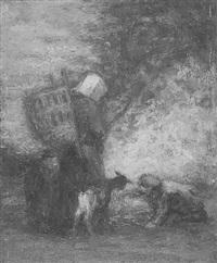 bäuerin mit kraxe am feuer by joseph futterer