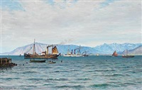 coastal scene with several ships near reykjavik during the king frederik viii's visit to iceland by vilhelm karl ferdinand arnesen