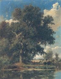 a tranquil river landscape, breslau near taschenstrasse by adolf dressler