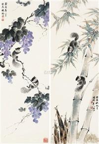 松鼠图 (二幅) (squirrel) (2 works) by yang cun