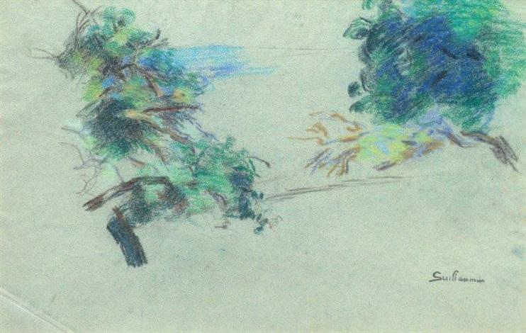 etude de deux arbres study by armand guillaumin