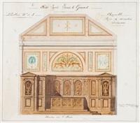 étude pour la chapelle du lycée louis le grand: élévation de l'abside (+ étude de plafond; 2 studies) by charles lemaire