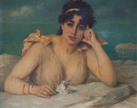 femme rêveuse, un paysage méditerranéen à l'arrière-plan by léon herbo
