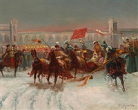 boyar's nighttime wedding procession, winter by k. stoyanov
