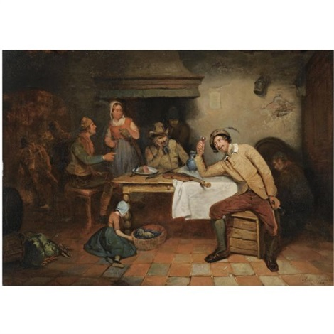 figures in an inn by adrien ferdinand de braekeleer