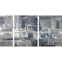 fragment of the city (triptych) by valery koshlyakov
