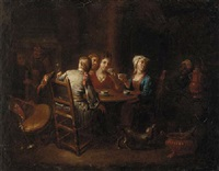 company drinking tea and wine in an inn by hieronymus van der mij