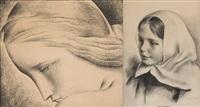 fille de l'artiste (esquisse) et visage féminin (2 works) by louis buisseret