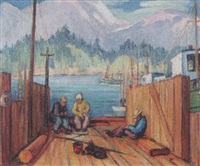 untitled - coastal fishermen by mildred valley thornton