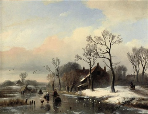 figures on a frozen stream near a farm house by willem vester