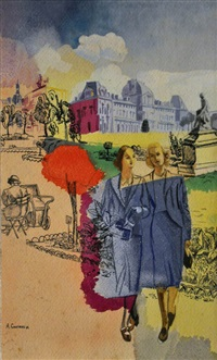 femmes au jardin des tuileries by alfred courmes
