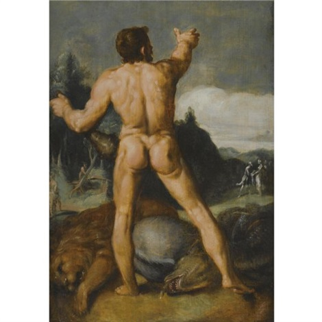 hercules slaying the lion by cornelis cornelisz van haarlem