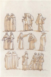 groups of clerical figures, including monks and a cardinal, in procession by giuseppe cades