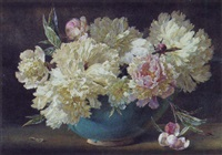 pink and white peonies in a bowl by helen cordelia angell